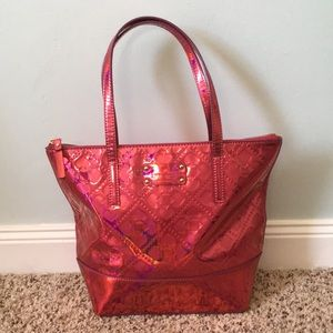 Kate spade tote pink metallic patent leather